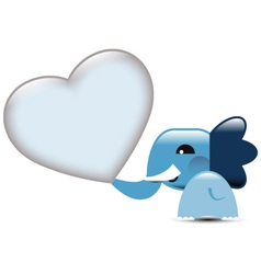 Blue Valentine elephant with hearts vector