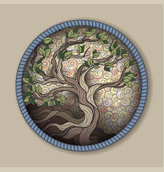 Bonsai tree in round frame vector