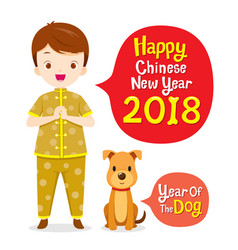 Boy in chinese clothing with dog vector