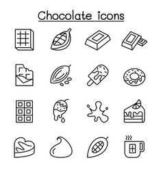 Cacao chocolate cocoa icon set in thin line style vector