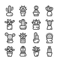 Cactuses thine line icon vector