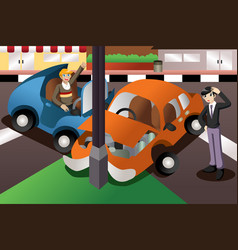 Car accident in the city vector