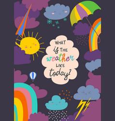 cartoon frame with weather sun cloud rain vector image