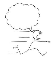 Cartoon scared man or businessman running away vector