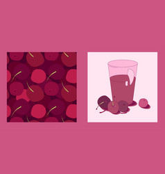 Cherry set templates vector