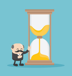 chief business man who is offering the hourglass vector image