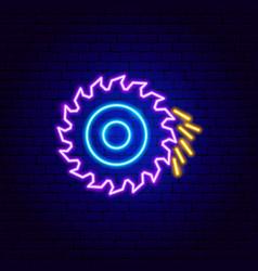 Circular saw neon sign vector