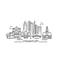 city frankfurt in outline style on white vector image