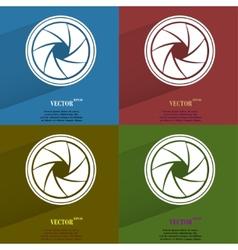 Color set photo camera diaphragm flat modern web vector