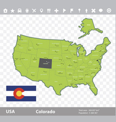 Colorado flag and map vector
