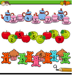Counting to ten activity for preschool kids vector