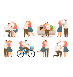 Couple situations young people woman and man in vector