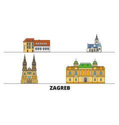 Croatia zagreb flat landmarks vector