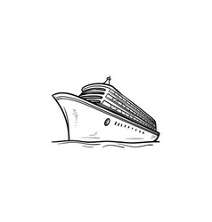 cruise ship hand drawn outline doodle icon vector image
