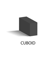Cuboid black geometric figure that casts shade vector