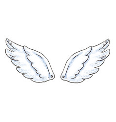 Cute cartoon wings with white vector