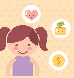 cute girl love money campaign donate charity vector image