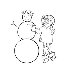 cute girl sculpts a snowman winter games vector image
