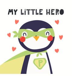 Cute penguin superhero vector