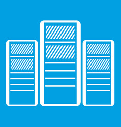 Database servers icon white vector