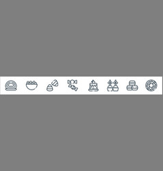 desserts candies line icons linear set quality vector image