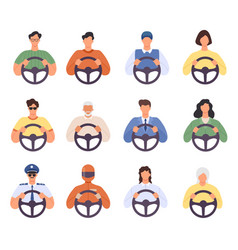 drivers man and woman driving car icons taxi cab vector image