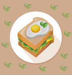 Egg toast with green salad healthy breakfast fresh vector