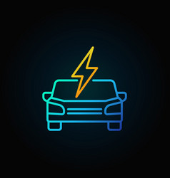 Electric car front view colorful icon in thin line vector
