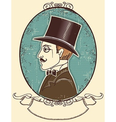 Elegant gentleman in a top black hat vector image
