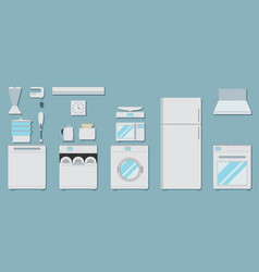 Flat icons for kitchen appliances set of gray vector