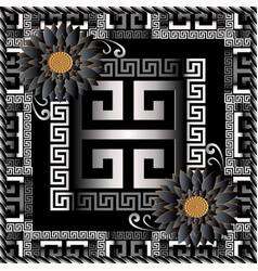floral greek 3d panel pattern meander vector image