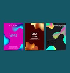 fluid color covers set colorful bubble shapes vector image