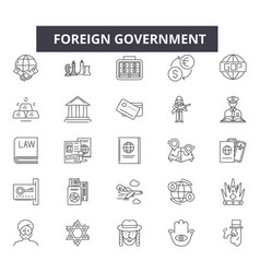 Foreign government line icons signs set vector