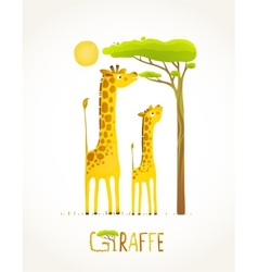 Fun Cartoon African Giraffe Animals Eating Foliage vector image