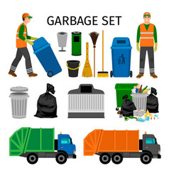 Garbage trucks trash can and sweeper vector