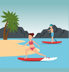 Girl pactice surfing and boy training paddle board vector