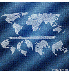 Globe on the blue denim texture vector