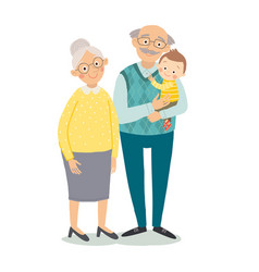 grandparents with grandchild grandmother vector image