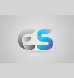 Grey blue alphabet letter es e s logo icon design vector