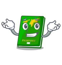 Grinning green passport in the cartoon shape vector