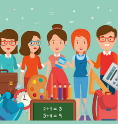 group of teachers with school supplies vector image
