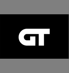 Gt g t black white bold joint letter logo vector