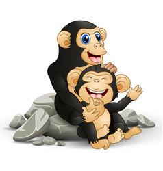 Happy chimpanzee mother hug her bachimp vector
