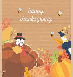 happy thanksgiving poster turkey wine bottle vector image