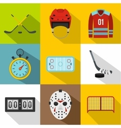 Hockey game icons set flat style vector