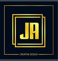 Initial letter ja logo template design vector