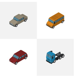 Isometric automobile set of truck car auto and vector