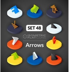 Isometric flat icons set 48 vector image