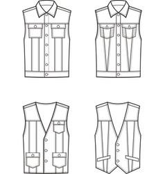 jean vest set vector image