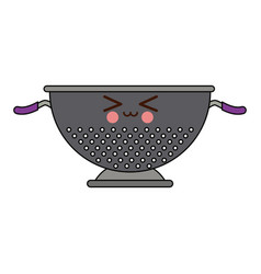 Kawaii metal kitchen strainer cooking element icon vector